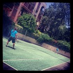 Sunday tennis. Father and husband